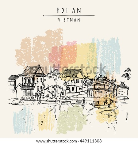Hoi An, ancient seaside fishing village, Vietnam. Old town riverside. Historic bridge. Waterfront houses, river. Hand drawn travel poster, banner, postcard or calendar page idea. Vector illustration