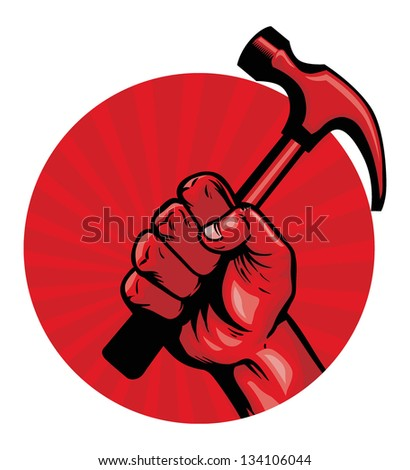 hold a hammer poster - stock vector