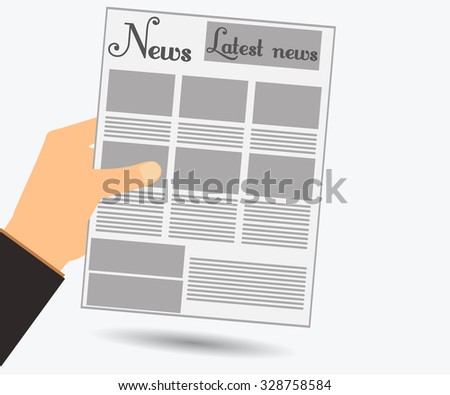 Hold in your hand a newspaper. Read the newspaper. View news in the newspaper. Vector illustration. - stock vector