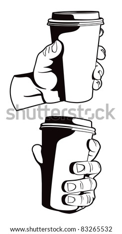 Holding a Coffee. - stock vector