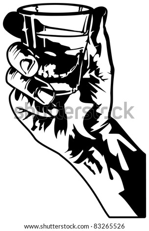 Holding a Glass of Whiskey. - stock vector
