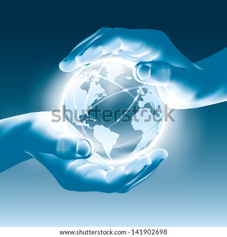 Holding a glowing earth globe in hands - save the world - stock vector