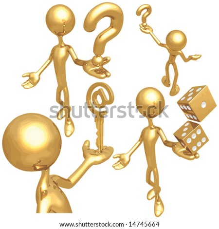 Holding Golden Question / Dice / Email Key - stock vector