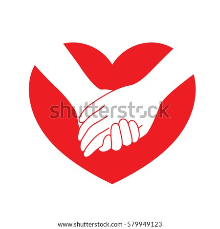 Holding Hands On Red Heart Icon Stockvector 579949123 Shutterstock