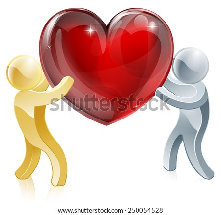 Holding heart love symbol illustration of two people mascots holding a big heart - stock vector