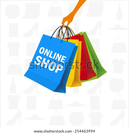 Holding many shopping bags - stock vector