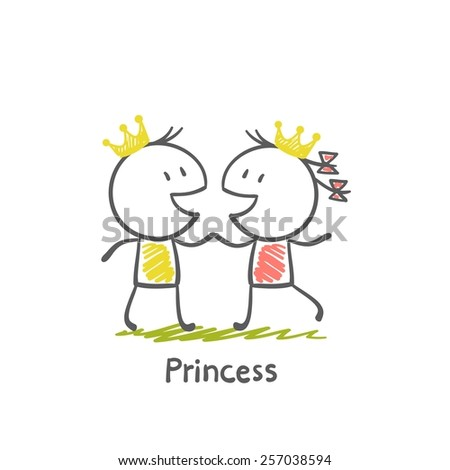 holding the hand of a princess prince illustration - stock vector