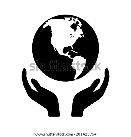Holding the world in your hands flat icon for apps and websites - stock vector