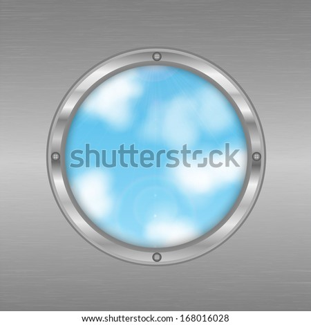 hole in the shape of a circle on the background of sky.eco background.round window .porthole in a gray metal wall.vector - stock vector
