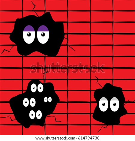 Hole in the wall with eyes. Vector illustration