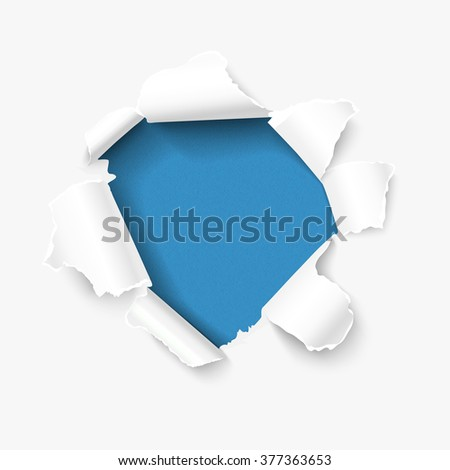 Hole in white paper with torn sides over blue textured paper background and with space for your text. Vector torn paper, realistic