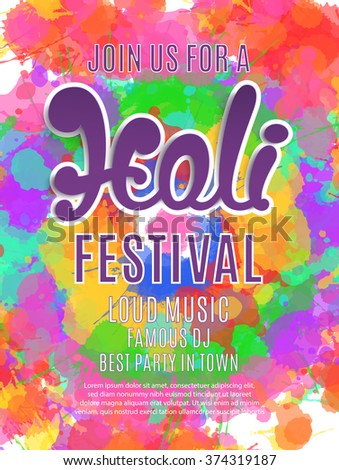 Holi festival poster. Template for flyer, brochure or invitation card. Vector illustration.