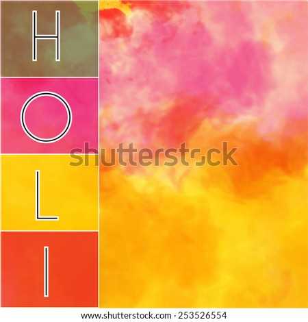 holi text in side box with colorful background - stock vector