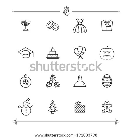 Holiday and Celebration Icons - stock vector