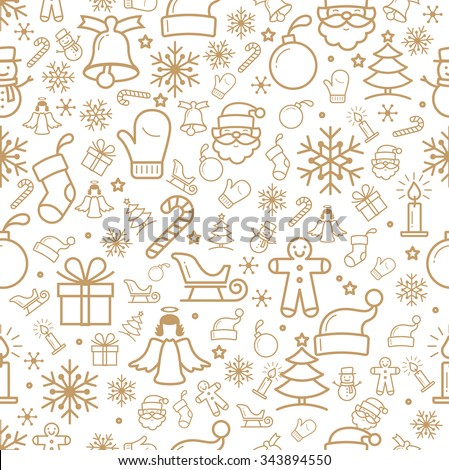 Holiday and Christmas background with icons - stock vector