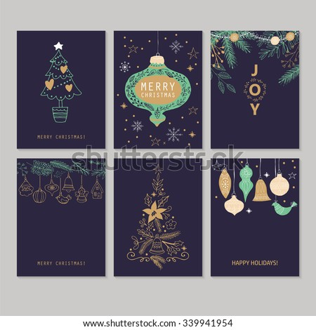 Holiday and Christmas hand drawing greeting card set. Isolated vector illustration - stock vector
