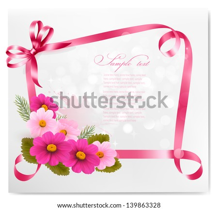 Holiday background.Colorful flowers with pink bow and ribbon. Vector. - stock vector