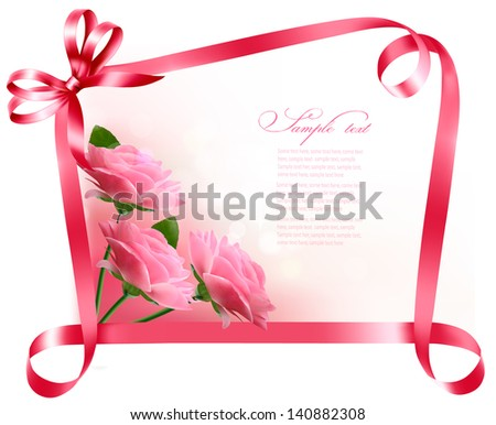 Holiday background. Colorful flowers with pink bow and ribbon. Vector - stock vector