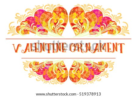Holiday Background, Decorative Frame of Valentine Hearts with Abstract Floral Pattern and Butterflies Silhouettes. Vector