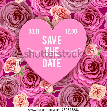 Holiday background for wedding invitation or valentine's day card. Place for text. - stock vector