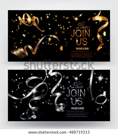 Holiday background. Invitation gold and silver cards with sparkling serpentine and star shaped confetti. Vector illustration