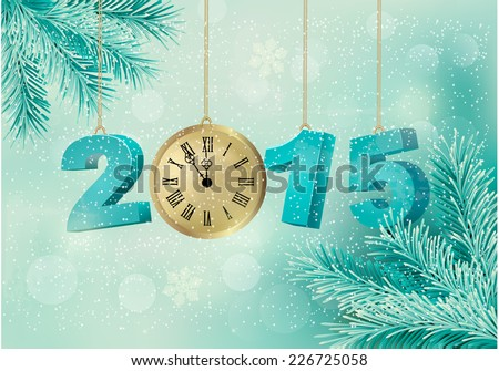 Holiday background with a 2015 made with a clock. Vector. - stock vector