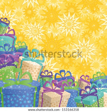 Holiday background with a pattern of festive gift boxes and stars. Vector - stock vector