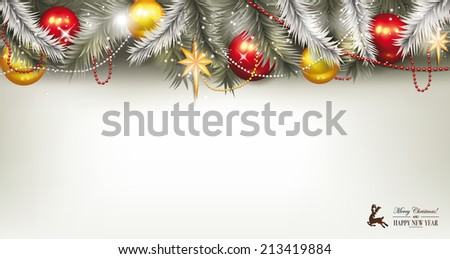 Holiday background with balls and  branches - stock vector