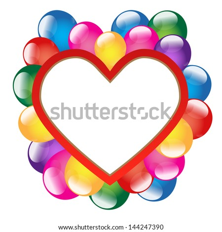 Holiday background with banner in the form of heart and balloons - vector
