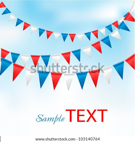 Holiday background with birthday flags. Vector - stock vector