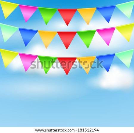 Holiday background with birthday flags vector - stock vector