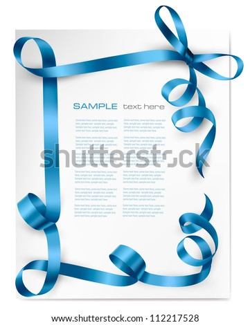 Holiday background with blue gift bow with blue ribbons. Vector - stock vector