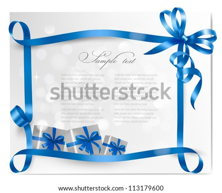 Holiday background with blue gift bow with gift boxes  Vector - stock vector