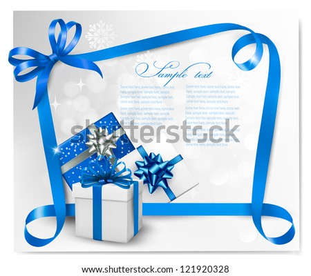 Holiday background with blue gift bows and gift boxes. Vector illustration. - stock vector