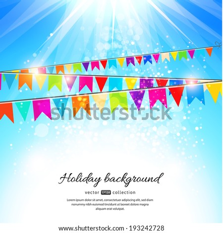 Holiday background with blue sky and colorful flags. Vector illustration. - stock vector