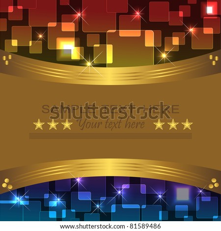 Holiday background with bokeh and banner. 10eps vector.
