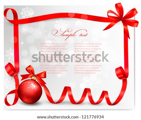 Holiday background with Christmas ball  with red riboon. Vector illustration. - stock vector