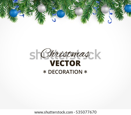 Holiday background with christmas tree garland and ornaments. Hanging blue and silver balls and ribbons. Great for christmas cards, banners, flyers, party posters. Vector illustration
