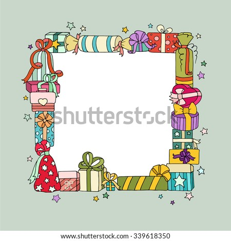 Holiday background with colored cute gift boxes, bow and stars. Original greeting, invitation card Valentines Day, Christmas, birthday. Cartoon vector square frame with place for text. - stock vector