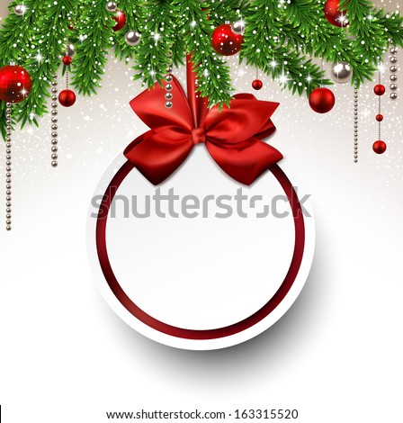 Holiday background with fir twigs and paper christmas ball. Vector illustration. - stock vector