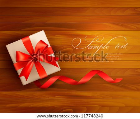 Holiday background with gift box and red bow. Vector illustration. - stock vector