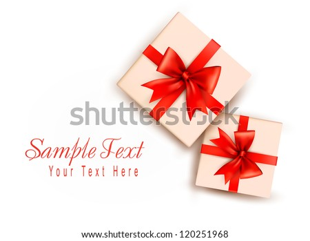 Holiday background with gift boxes with red bow. Vector illustration - stock vector
