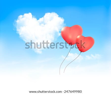 Holiday background with heart shape of cloud on blue sky and red ballons. Valentine's Day. Vector illustration - stock vector