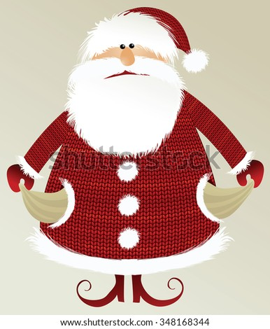 Holiday background with poor Santa Claus - stock vector