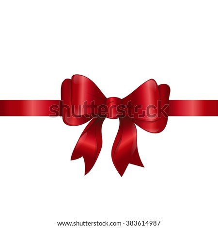 Holiday background with red bow and ribbon