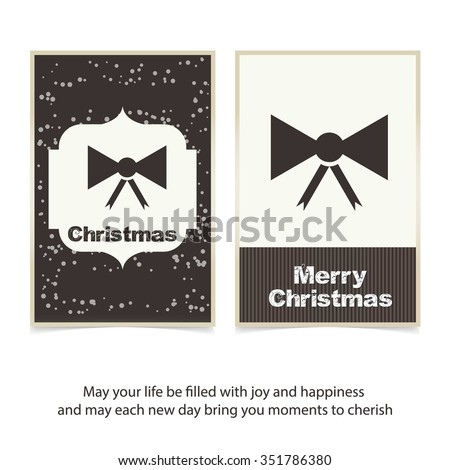 Holiday background with Ribbon gift bow Christmas decorative template Design, Christmas New Year Flat card - stock vector