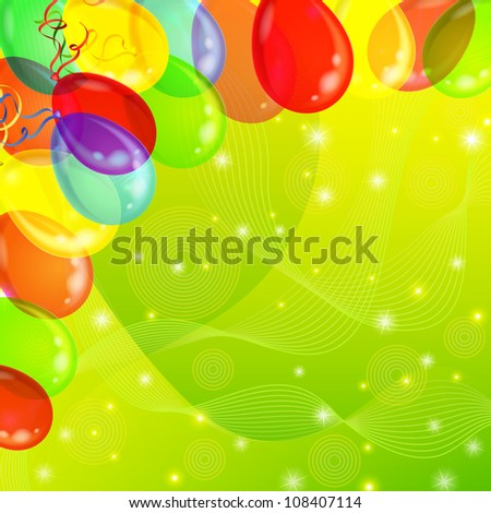 Holiday background with various color balloons, sparks and serpentine on green. Vector eps10, contains transparencies - stock vector