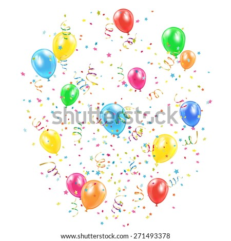 Holiday balloons, confetti and tinsel on white background, illustration. - stock vector
