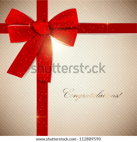 Holiday banner with red ribbons. Vector background. - stock vector