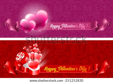 Holiday banners for Valentines Day with a gift box and hearts - stock vector